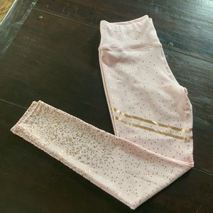 Pink & Gold Metallic Workout Leggings Yoga S/M